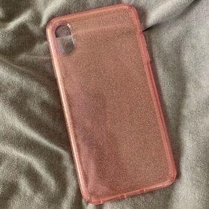iPhone XS Max pink glitter case